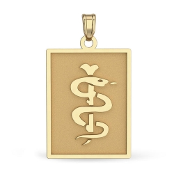 14K Gold Rectangle Medical Pendant