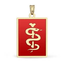 14K Gold Rectangle Medical Pendant W  Red Enamel
