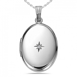Sterling Silver Oval    Genuine Diamond  Picture Locket