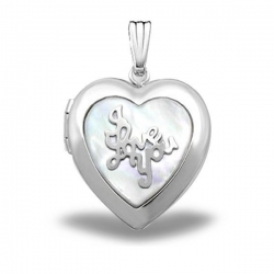 Sterling Silver Heart Mother Of Pearl  I Love You  Picture Locket