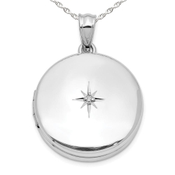 Sterling Silver Round w  Diamond Picture Locket