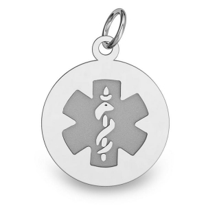 Sterling silver round medical id charm or pendant md01s sterling silver round medical id charm or pendant aloadofball Images