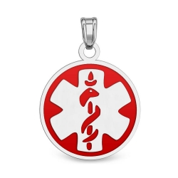Sterling Silver Round Medical ID Charm or Pendant W  Red Enamel