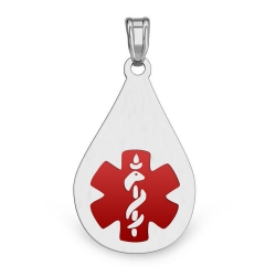 Sterling Silver TearDrop Medical Pendant W  Red Enamel