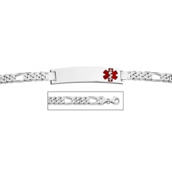 Sterling Silver Medical ID Bracelet w  Figaro Chain W  Red Enamel
