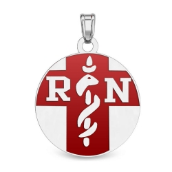 Sterling Silver  RN  Medical ID Charm or Pendant W  Red Enamel