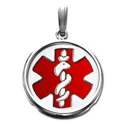 Sterling Silver Round W  Bezel Medical ID Charm or Pendant W  Red