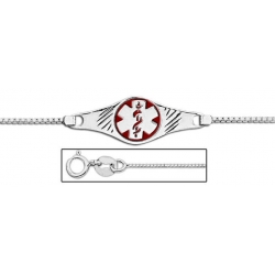 Sterling Silver Medical ID Ankle Bracelet W  Box Chain W  Red Enamel