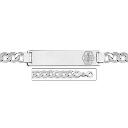Sterling Silver Medical ID Bracelet w  Curb Chain