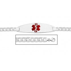Sterling Silver Medical ID Bracelet w  Curb Chain W  Red Enamel