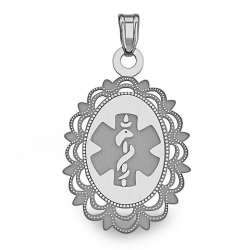 14K White Gold Oval Medical Pendant