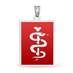 14K White Gold Rectangle Medical Pendant W  Red Enamel