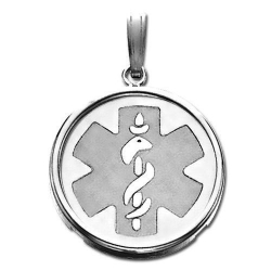 14K White Gold Round W  Bezel  Medical Pendant