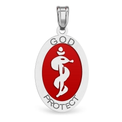 14K White Gold Oval  God Protect  Medical Pendant W  Red Enamel
