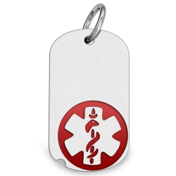 14K White Gold Dog Tag Medical Pendant W  Red Enamel