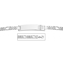 Sterling Silver Medical ID Bracelet w  Figaro Chain