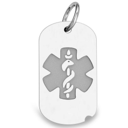 14K White Gold Dog Tag Medical Pendant