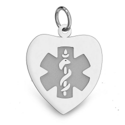14K White Gold Heart Medical Charm