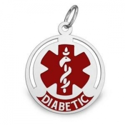 14K White Gold Round Medical  Diabetic  Charm W  Red Enamel