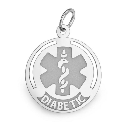 14K White Gold Round Medical  Diabetic  Charm