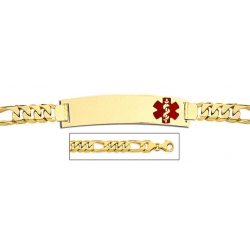 14K Gold Medical ID Bracelet w  Figaro Chain