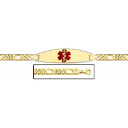 14K Gold Medical ID Bracelet w  Figaro Chain with Enamel