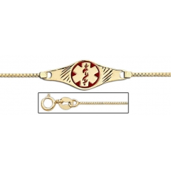 14K Gold Medical ID Anklet With Enamel
