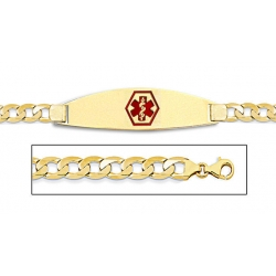 14K Gold Medical ID Bracelet w  Curb Chain with Enamel