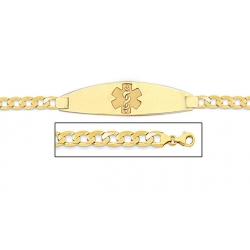 14K Gold Medical ID Bracelet w  Curb Chain