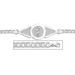 14K White Gold Medical ID Bracelet w  Curb Chain