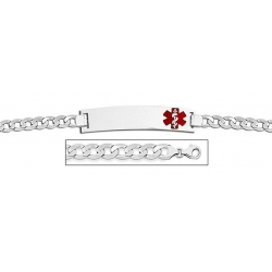 14K White Gold Medical ID Bracelet w  Curb Chain with Enamel
