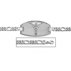 14K White Gold Medical ID Bracelet w  Figaro Chain