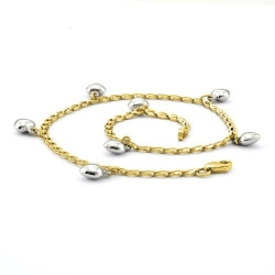 14k Two Tone Polished White Puffed Hearts Anklet