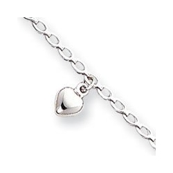 14k White Gold Polished White Puffed Hearts Anklet