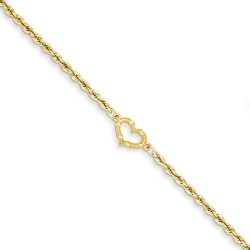 14k Open Heart Rope Anklet