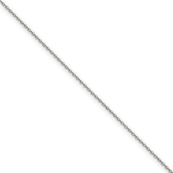 14k White Gold 1 65mm Solid Diamond cut Cable Chain