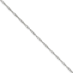 14k White Gold 1 4mm Solid Polished Singapore Chain
