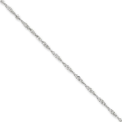 14k White Gold 1 65mm Solid Polished Singapore Chain