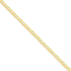 14k Polished Anchor Link Anklet