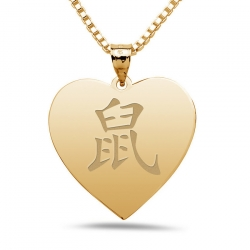 Rat  Chinese Symbol Heart Pendant