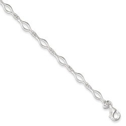 Sterling Silver Solid Polished Fancy Link Anklet