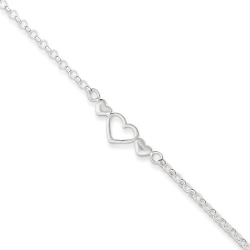 Sterling Silver Polished Triple Heart Anklet
