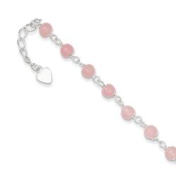Sterling Silver 9  Pink Bead with Heart Anklet