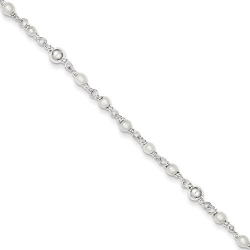 Sterling Silver Polished Freshwater Cultured Pearl   Heart Anklet