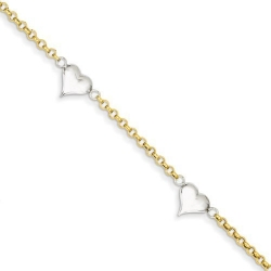14k Two tone Puffed Heart Anklet