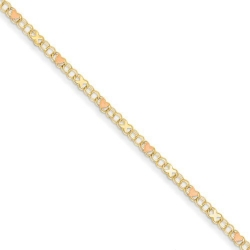 14k Polished Rhodium Plated Xs   Hearts Anklet
