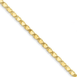 14k Polished Double Sided Heart Anklet
