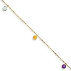 14k 9 Inch Multi colored Gemstone Anklet