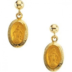 14K Gold Miraculous Medal Earrngs