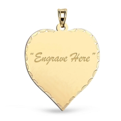 14K Yellow Gold Heart with Diamond Cut Pendant